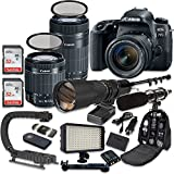 Canon EOS 77D DSLR Camera Bundle with Canon EF-S 18-55mm f/4-5.6 IS STM Lens + Canon EF-S 55-250mm f/4-5.6 IS STM Lens + 500mm f/8 Preset Lens + Accessory Kit