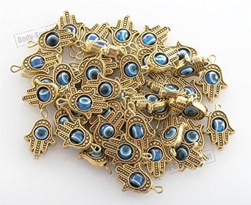 - DIY lot of 50 Gold HAMSA HAND Evil Eye Lucky Charm Pendant Kabbalah Jewelry by Body-Soul-n-Spirit Bracelet