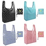 Foldable Reusable Grocery Bags Cute Designs, Folding Shopping Tote Bag Fits in Pocket (4 Pack Fashion Patterns) (Royal Stripe 4 Pack)