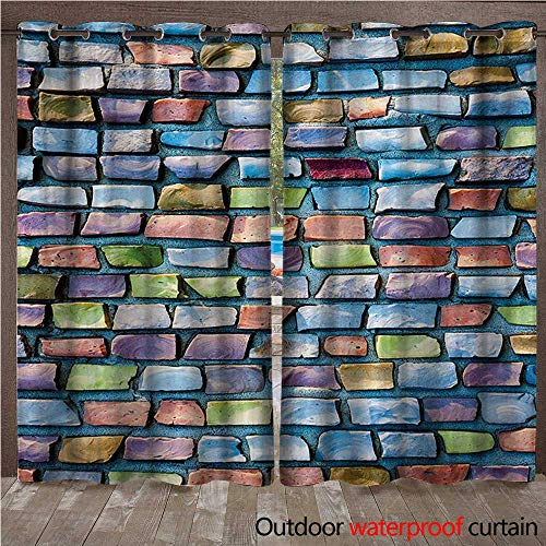 Patio Brick Pattern - BlountDecor Geometric Outdoor Curtain Panel for Patio Colorful Mosaic Tiles Pattern Brick Wall Design with Grunge Effect Worn Out LookW108 x L108 Multicolor