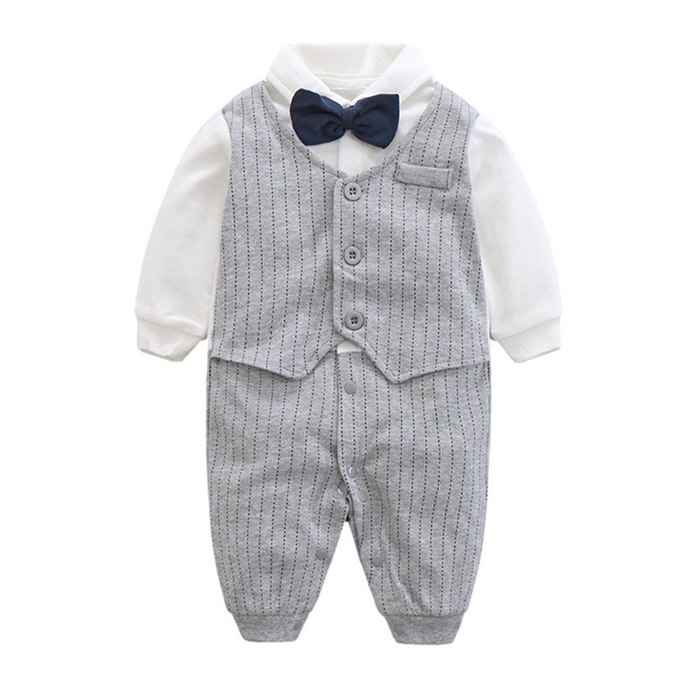 HUHUXXYY Infant Baby Boys Gentleman Outfit Striped Onesie Formal Tuxedo Suit