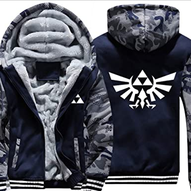a541b9f7e Hibuyer Men's Triforce Hylian Crest Inspired Adult Thick Fleece Zip up  Hoodie Winter Jacket Unisex, Camouflage at Amazon Men's Clothing store: