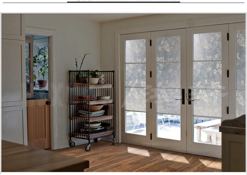 QSTF - Película de privacidad para ventana, diseño de hojas, no adhesiva, antiUV, estático, protección para el hogar, cocina, dormitorio, Brote de flores, 100 x 50 cm: Amazon.es: Hogar