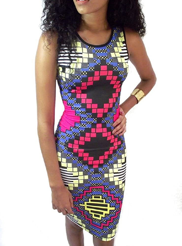 38059e07ae8 Good Times USA Women s Multicolor Geometric Print Sleeveless Midi Bodycon  Knee Length Fitted Dress at Amazon Women s Clothing store