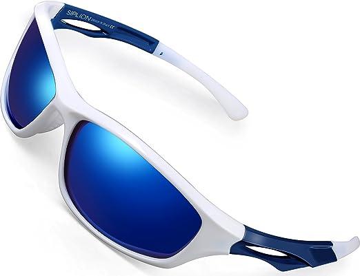 SIPLION Herren Sports Radfahren Sonnenbrille Polarisiert TR90 Superleichtes Rahmen 503 silver GgjmQzn