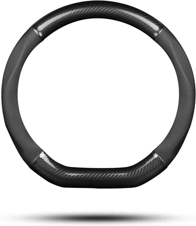 Ergocar Auto Lenkradbezug Rutschfester Auto Lenkradschutz D Form Kohlefaser Pu Leder Für Durchmesser 38cm 15 Schwarz Auto