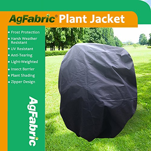 """Agfabric Warm Worth Frost Blanket – 1.5 oz Fabric of 84""""Hx84""""W Shrub Jacket, Rectangle Plant Cover with Zipper for Frost Protection, Dark Blue"""