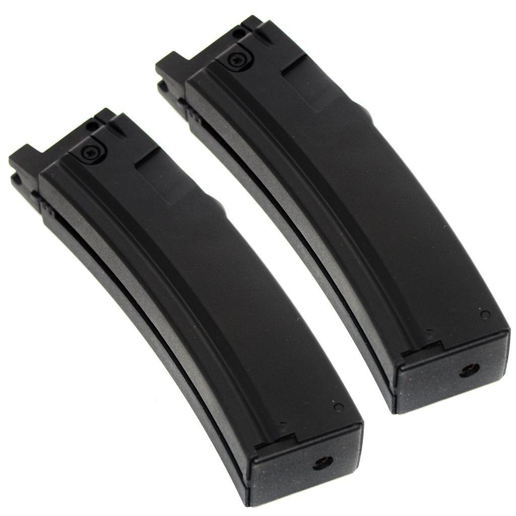 WELL製パーツ2枚22発装弾数ショートタイプマガジンためにMP5K G55シリーズSMG黒 [AirsoftWebsiteShopキーホルダー付] B071WCQPMC