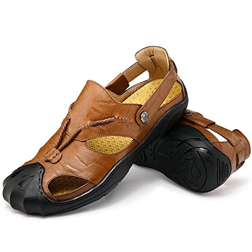 bd60805aa1fe8a Qiucdzi Men Leather Sports Sandals Summer Outdoor Closed Toe Breathable  Walking Beach Sandals Fisherman Sandals
