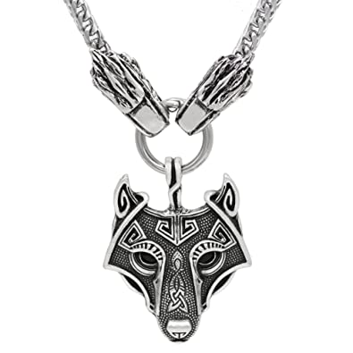 Xicoh viking wolf head with odin wolf pendant necklace stainless xicoh viking wolf head with odin wolf pendant necklace stainless steel chain aloadofball Choice Image