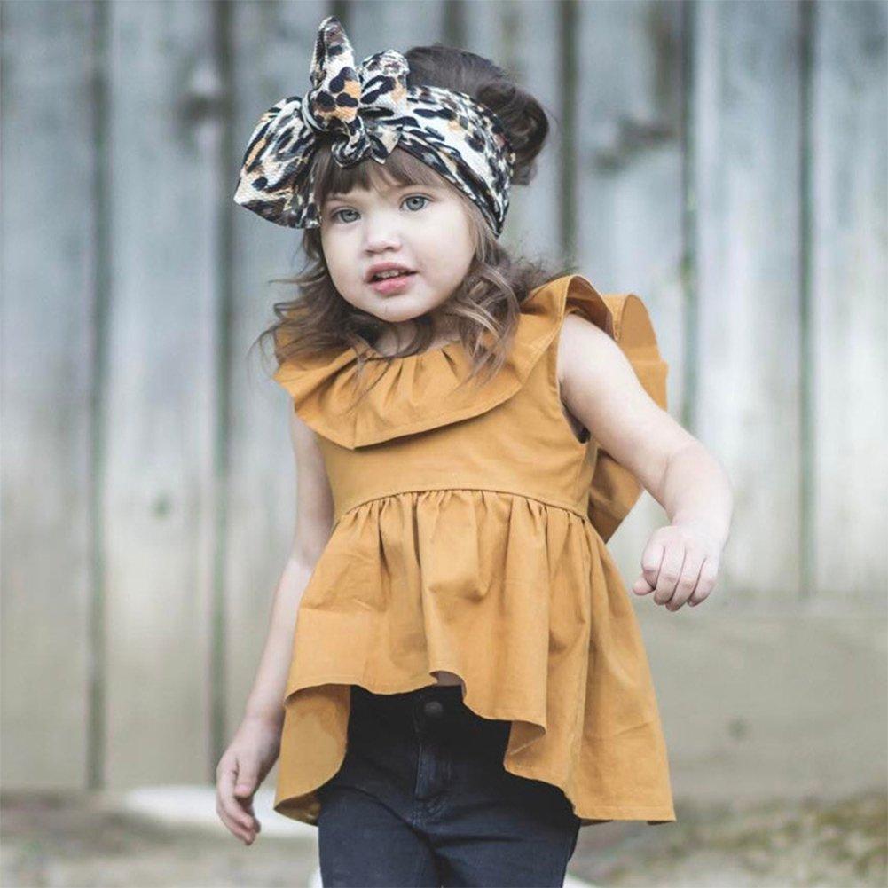 YOHA Baby Girls Ruffle Top Blouse Skirt Toddler Casual Blouse Dress Jumper Dress
