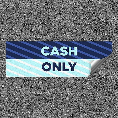 CGSignLab |''Cash Only -Stripes Blue'' Heavy-Duty Industrial Self-Adhesive Aluminum Wall Decal | 36''x12''