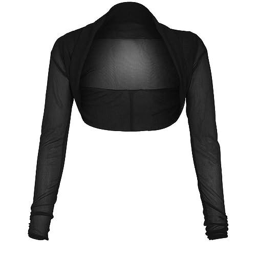 Cárdigan de Online Fashion Store de malla negra, tela transparente de gasa, de manga larga, tipo tor...
