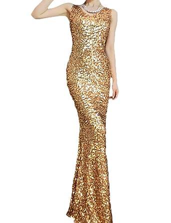 Prettyguide Gatsby Inspired Glitzy Glam Mermaid Gold Sequin Beaded Formal Bridesmaid Dress