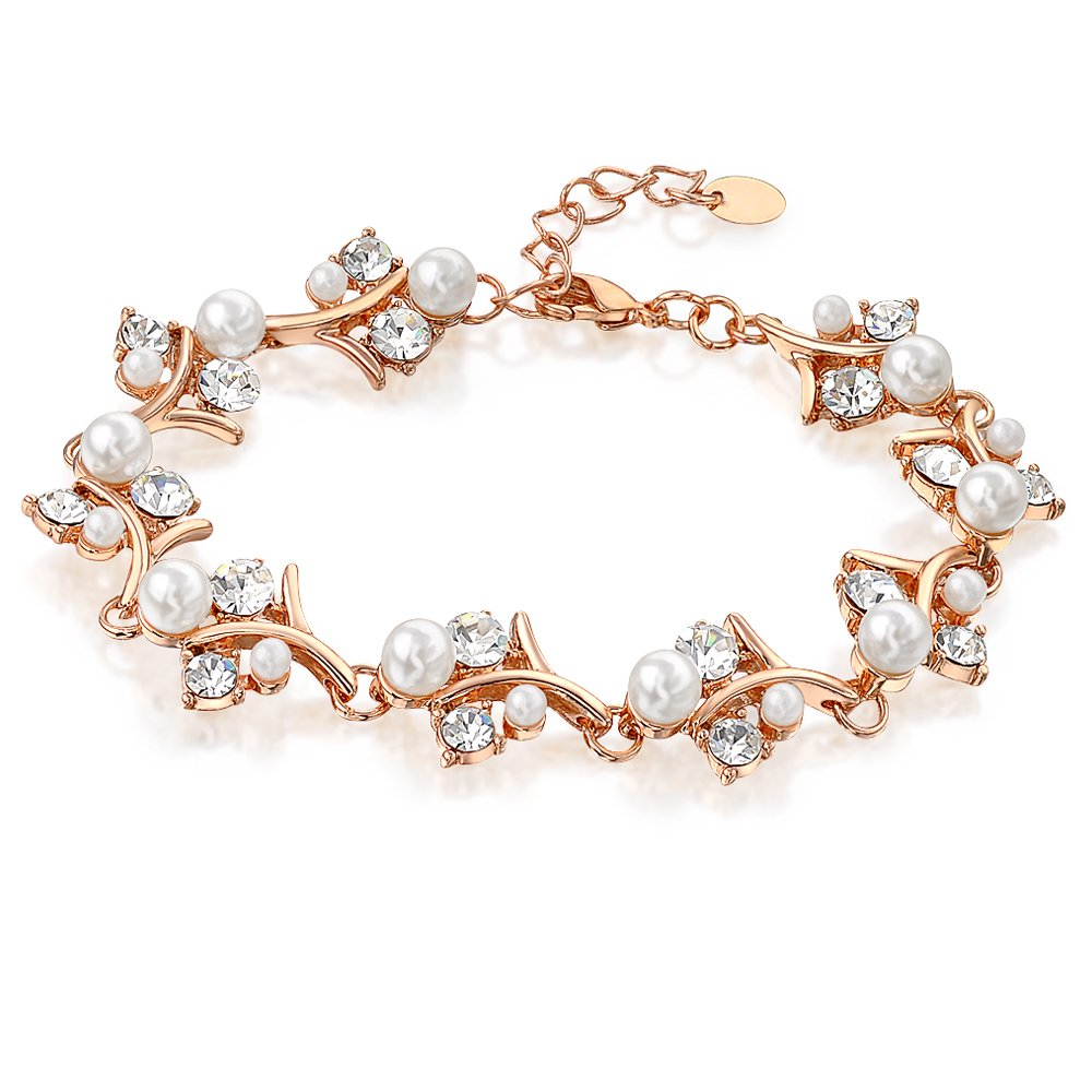 Mytys Pearl and Crystal Bangle Rose Gold Bracelet Womens Wedding Jewelry