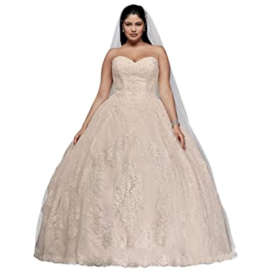 David\'s Bridal Plus Size Wedding Ball Gown with Lace ...