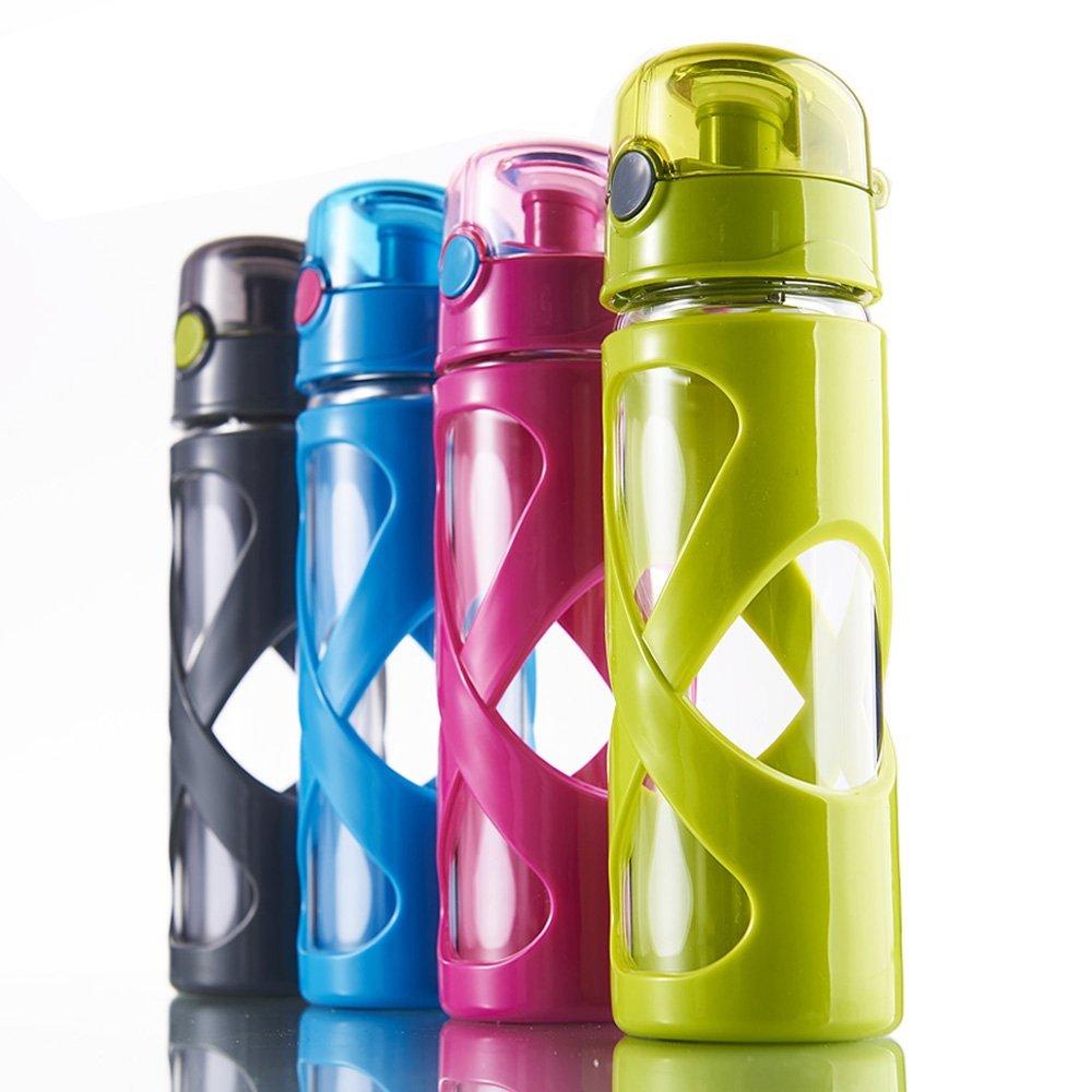 tourplan sin BPA botella de agua de vidrio con tapa, 600 ml/rojo, gris: Amazon.es: Deportes y aire libre