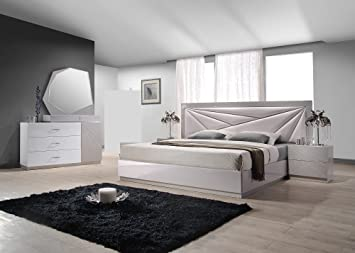 Amazon.com: J&M Furniture Florence White & Taupe Lacquer Queen ...