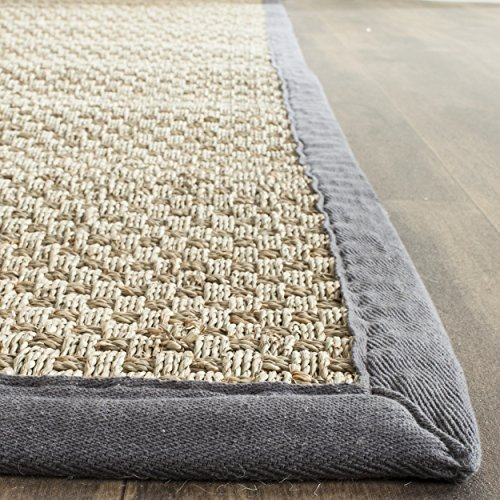 "Safavieh Natural Fiber Collection NF114Q Basketweave Natural and  Dark Grey Seagrass Area Rug (2'6"" x 4')"