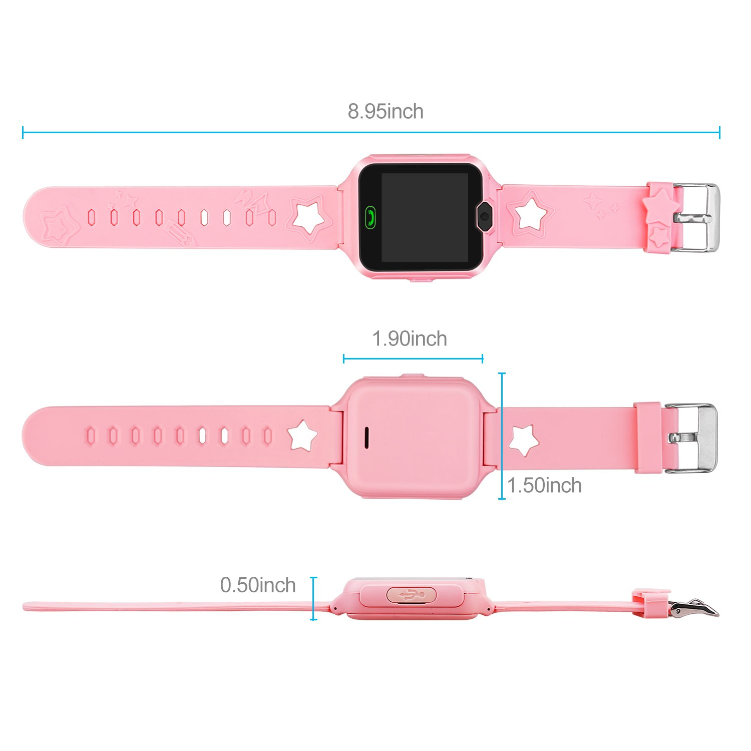 Kids Smart Watch Phone,Unlocked Waterproof Smart Phone Watch for Girls Boys with Camera Games Touchscreen,Children SOS Cell Phone Watch with SIM and SD Slot,Perfect Holiday Birthday Gifts(Pink) by MIMLI (Image #5)
