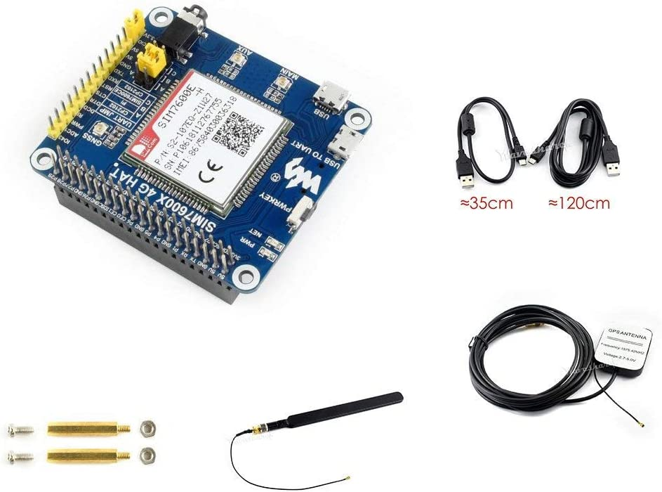 4G/3G/2G/GSM/GPRS/GNSS Hat Based on SIM7600E-H for Raspberry Pi, Jetson Nano Supports LTE CAT4 for Downlink Data Transfer/4G High-Speed Connection/Telephone Call/Sending SMS/Gobal Positioning etc.