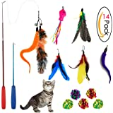 Sunnysunnie Cat Toys Interactive , Cat Toy Wand, Cat feather toy ,Teaser Wand Toy Set Crinkle balls Fish Worm for Cats Kitten Catnip 14 Refills