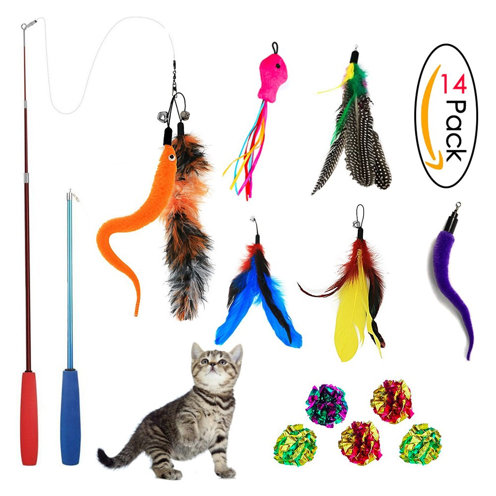 Sunnysunnie Cat Feather Toys Catnip Toy Wand Interactive Teaser Set Replacement Crinkle balls Fish Worm for Cats Kitten 14 Refills