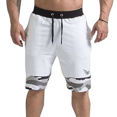 c4d340b5b5b6 Juqilu Kurze Sporthose Herren - Jogging Shorts Mode Einfarbig Elastische  Taille Hose mit Taschen Camo Splice