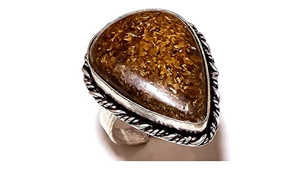 Ancient Handmade Jewelry Brown Picture Jasper Sterling Silver Overlay Ring Size 9.25 US