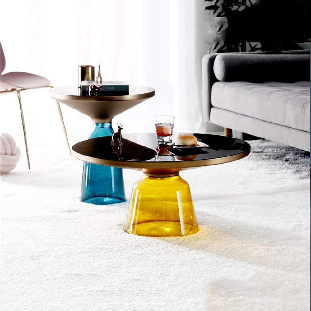 Online ZRRtables 2-delige set glazen tafel salontafel modern woonkamertafel ronde bijzettafel mini salontafel met metalen frame van messing voor thuis, woonkamer, eetkamer F iTfUBpV