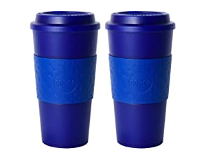 Copco Acadia Double Wall Insulated 16 oz Travel To Go Mug with Non-Slip Sleeve, Set of 2, Commuter Friendly, Drink On the Go (Translucent Navy)
