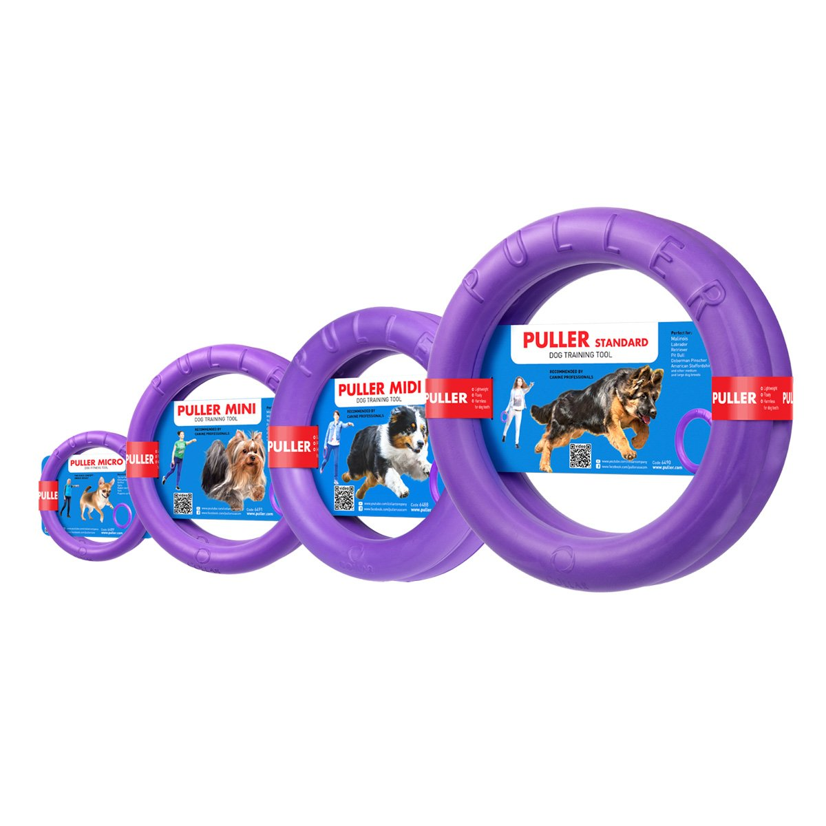 Dog toys rings – interactive large medium dog training – large Medium Size Dog Toy for Fetch Catch Throw Tug War Plays - Dental Healthy - Dog toys set two rings by Puller Plus - Size 11 inches