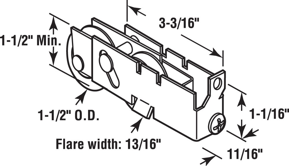 Prime-Line Products D 1738 Sliding Door Tandem Roller Assembly 1-1//2-Inch Nylon Ball Bearing