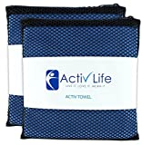 Activ Life Microsuede Gym Towels for Men & Women Athletes, Camping & Travel, Soft Absorbent Fast Drying Microfiber Hand & Face Towel with Mesh Storage Bag & Hang Loop for Quick Dry, 2 PACK