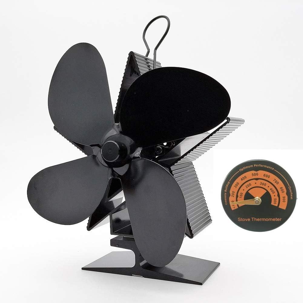Ventilador de Chimenea Queta Ventilador de Estufa con 4 Hojas de Abanico sin Electricidad, Respetuoso con el Medio Ambiente para Chimenea/Estufas de leña/Caldera, con Termómetro