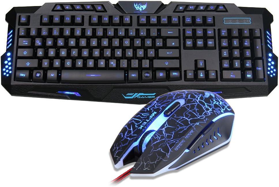 Teclado y ratón para juegos MFTEK disposición del teclado en alemán negro negro