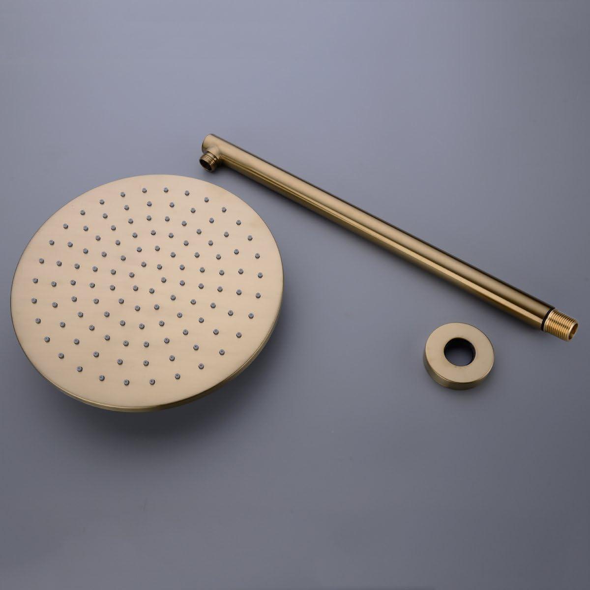 oro spazzolato Set doccia da 10 pollici in oro sistema doccia in ottone con kit rivestimento valvola miscelatore a scomparsa e soffione doccia manuale