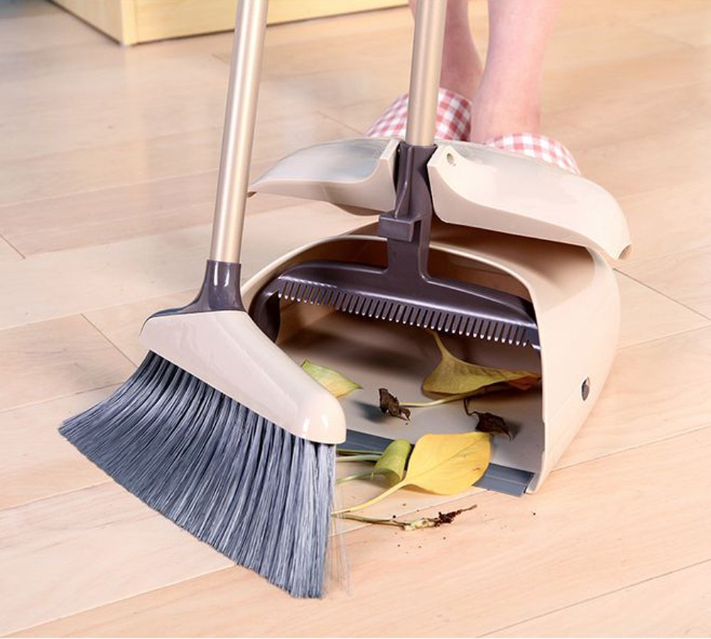 YOYO HOME Duo-Pan Dustpan & Lobby Broom Combo 3 Foot Overall Height (8131CM) (brown-1) (2585cm)
