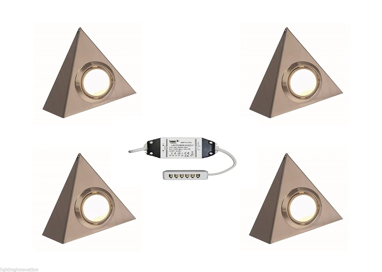 4 x LED TRIANGLE UNDER CABINET KITCHEN CUPBOARD LIGHT COOL WHITE BRUSHED CHROME Lighting Innovations
