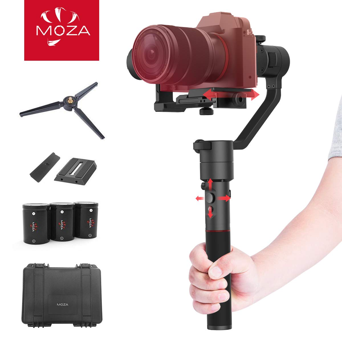MOZA AirCross 3-Axis Gimbal Stabilizer for Mirrorless Camera up to 3.9 Lb, Auto-Tuning, Time-Lapse Shooting, 12Hrs Run-time i.e. Sony A7SII/A6500/A6300/A9/RX100, Pana GH3/4/5 by MOZA