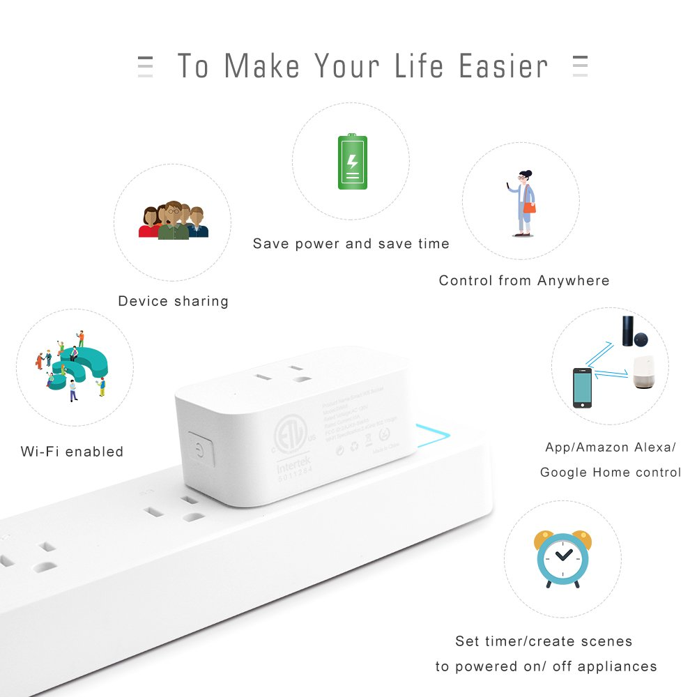 LINGANZH Wi-Fi Smart Plug Timing Switch Power, Compatible with Alexa Echo Google Home and IFTTT, No Hub Required,WiFi Wireless Energy Save,Remoter Control From Anywhere Smart Sockets (2 pack) by LINGANZH (Image #2)