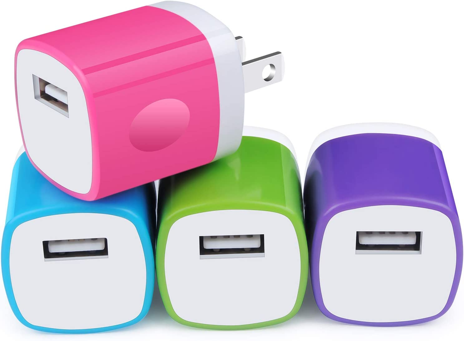 USB Block, Charger Plug for iPhone, Charging Cube, NonoUV 4Pack 1Amp Single Port USB Wall Charger Adapter Power Bricks Box for for iPhone SE 11 Pro XR XS X 8 7 6 6s Plus, iPad, Samsung Galaxy S20 S10