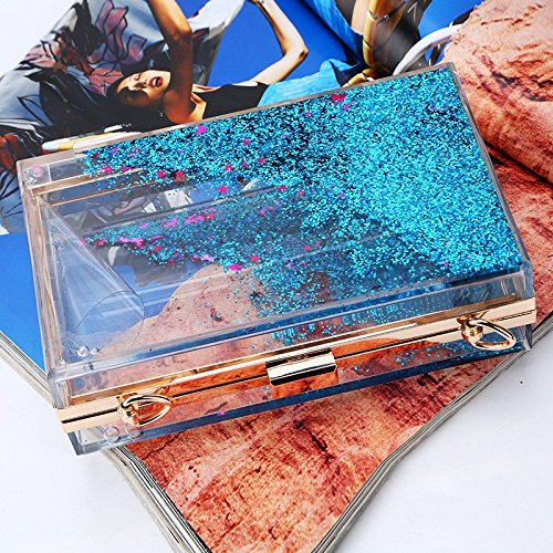 Lovely Creative From Purple Sparkling Evening Women's Color Choose Sequins Quicksand To Colour Multi Translucent Blue Rabbit Acrylic Bag rqSaEr