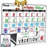 Dry Erase Monthly Calendar Set / Large Magnetic White Board & Grocery List Organizer For Kitchen Refrigerator / Best For Smart Planners