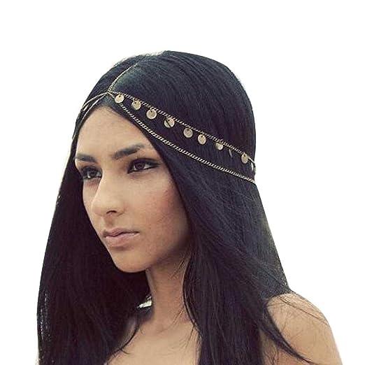 9b7e7eb7b56b4 Missgrace Women Bohemian Gold Head Chain Headband Bridal Head Chain Wedding  Headpiece Hair Jewelry Accessories for Bridal and Girl Hair Accessories