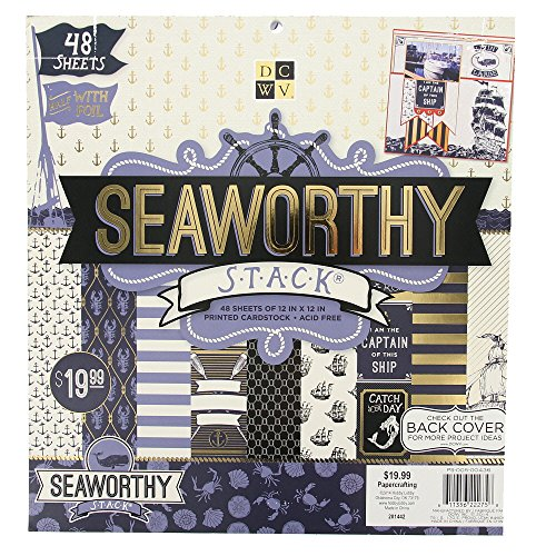 American Crafts DCWV 12'' x 12'' Seaworthy Premium Cardstock Stack - 48 Sheets, Gold Foil Accented - Scrapbooking Accessory and Decoration by American Crafts