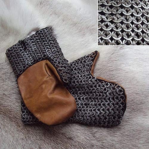 QUALITYMUSICSHOP Chainmail Mittens with Leather Grips, Perfect for Re-Enactment, Costume and LARP