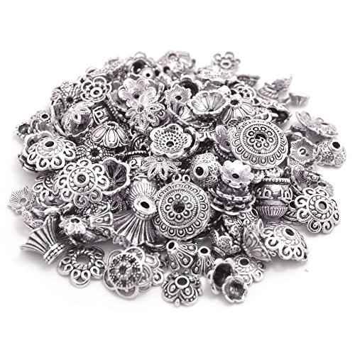160-210pcs Bali Style Jewelry Making Metal Bead Caps Deluxe New Mix, 100 Gram,Tibetan Silver