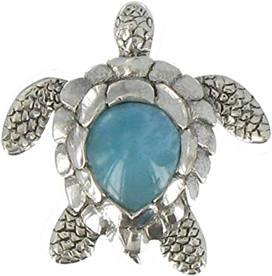 Pendant Cross Sterling Silver and Larimar Les Poulettes Jewels