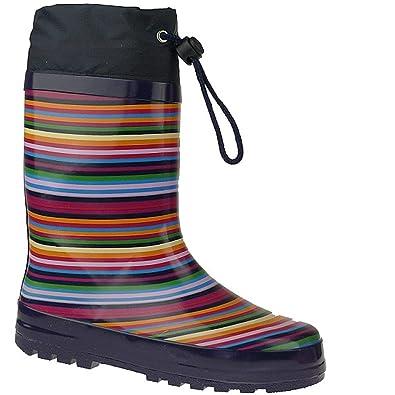 b2e9be53fbb82e Indigo Rainboots Crazy Strips Gummistiefel im lustigen Ringel-LookGr.24-35  blautöne EUR